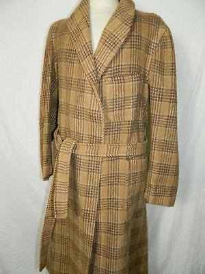 Mens Vintage 1940's/50's check house coat/dressing gown, heavy wool retro warm M