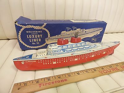 1940s Wolverine Luxury Liner no.93 Cruise Ship Wind-Up Tin Litho Toy Boat w/ Box