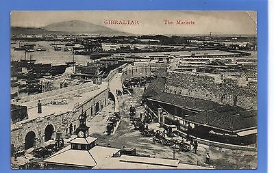 EARLY 1907c HORSE & CARTS THE MARKETS GIBALTAR LOCAL CUMBO VINTAGE POSTCARD