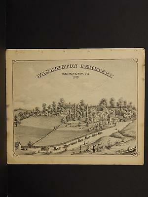 Pennsylvania, Washington County Map, 1876 Farm Engravings Double Sided N5#72