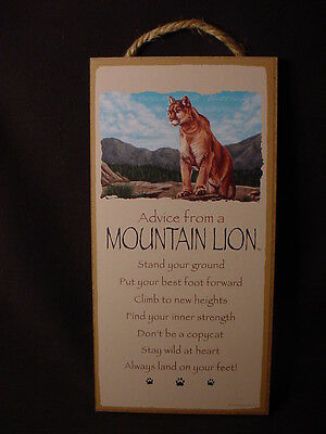 ADVICE FROM A MOUNTAIN LION Wood INSPIRATIONAL SIGN cougar cat NOVELTY PLAQUEt