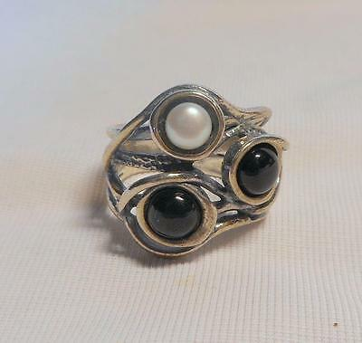 Pretty 925 Silver Ring Set Black Stones & Cultured Pearl~Size Uk O /us 7 1/4
