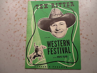 Tex Ritter and His Western Festival with White Flash - 1950 SIGNED Program