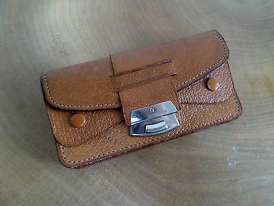 VINTAGE 50'S LEATHER COIN PURSE,WALLET silver metal push in catch,pockets,VGC