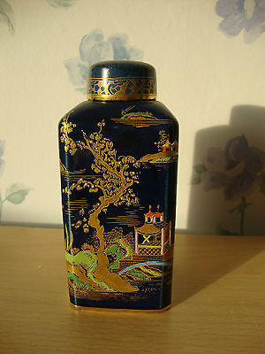 Antique Carlton Ware Chinese Pagoda handpainted gilded vase Tea Canister