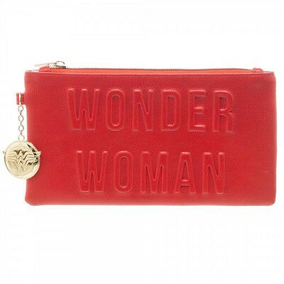 Wonder Woman Amazon Princess Clutch Red Zippered Wallet Print Inside Metal Charm