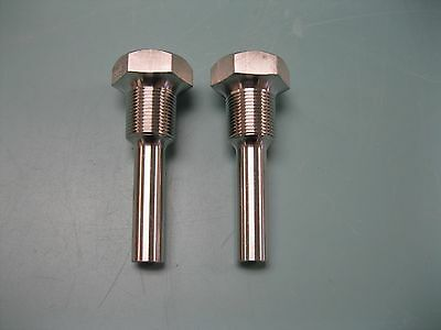 """Lot (2) Stainless Steel Thermowell 3/4"""" MNPT x 1"""" FNPT NEW P21 (2114)"""