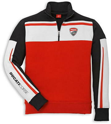 Ducati Corse 2014 1/2 Embroidered Patch Logo Sweatshirt Red