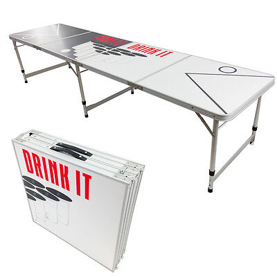 New Beer Pong Table 8' Aluminum Folding Indoor Outdoor Tailgate Drinking Game 10