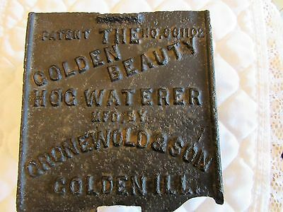 Antique American Beauty Hog Waterer Cast Iron Cover Cronewold Mfg Golden, Ill