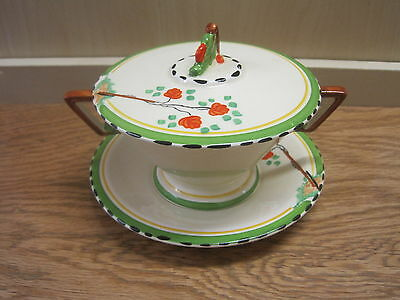 1930's Art Deco Burleigh Ware Zenith Roseland Conical Lidded Soup Bowl Coupe