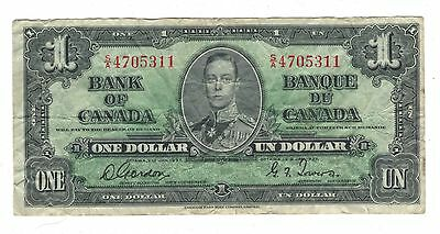 Canada 1937 $1 Banknote Gordon-Towers S/A