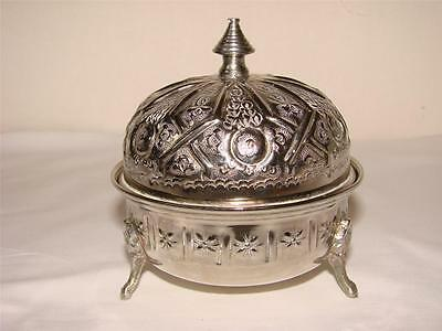 Islamic/arabic Round Lidded Pot- Signed-Silver?