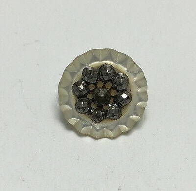 Vintage MOP Mother of Pearl Button with Cut Steel Flower