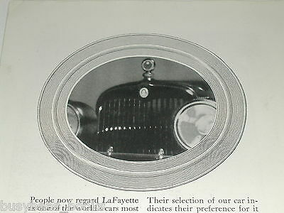 1921 LaFayette advertisement, LaFayette Motors Company, hood photo