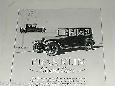 1923 Franklin advertisement, Franklin Automobile Co, Syracuse NY