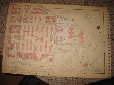 Antique 1955 Lower East Side New York City Manhattan Map Huge Housing Areas Rare