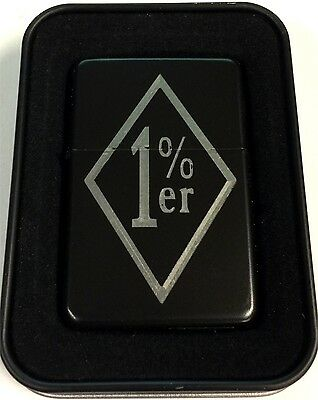 One Percent 1 % Engraved Black Gift MC Club Motorcycle Lighter Biker LEN-0181