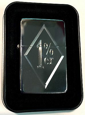 One Percent 1 % Engraved Chrome MC Club Motorcycle Lighter Biker Gift LEN-0182