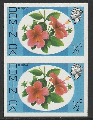 Dominica (S89) 1975 definitives 1/2c Hibiscus IMPERFORATE PAIR  unmounted mint
