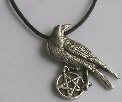 Solid Pewter Pentacle of the Raven Pewter Pendant - Wicca / Pagan Jewellery