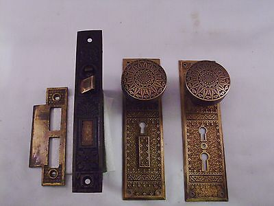 Antique Cast Bronze Door Knob Entrance Set DBL Key Thumb Turn Dead bolt #585