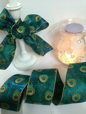 PERFECT PEACOCK shimmery feathers in green & blue 63mm- Luxury Wire Edged Ribbon