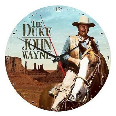 "John Wayne, The Duke Western Photo 13 1/2"" Cordless Wood Wall Clock, NEW SEALED"
