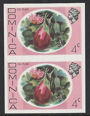 Dominica (S92) 1975 definitives 4c Egg Plant IMPERFORATE PAIR  unmounted