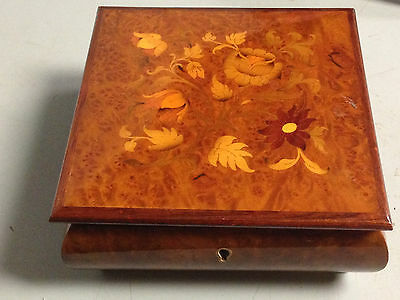"Vintage Wood Inlaid Jewelry Music Box Gueiseaz-Jaccard Swiss ""Edelweiss"" Works"