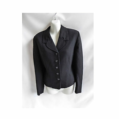 Vintage 40s Jacket Size M L Black Rayon Georgette Tailored WWII Noir 50s