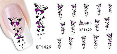 Removable Water Transfer Nail Stickers Decals Art Tips Finger Decor XF1429 #39