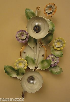 Vintage Sconces matched pair circa 1960 Italian made tôle wall lights