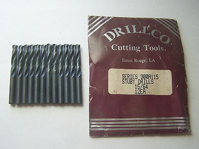 """DRILLCO 15/64"""" Stuby Length Drill Bits EPO # 300A115 (12 Pieces) New"""