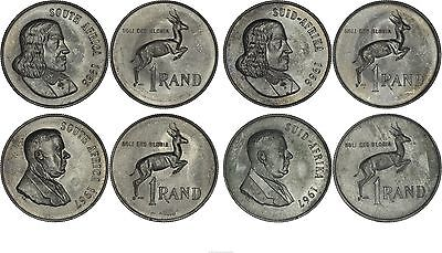 South Africa: collection of 4 different 1 Rands silver 1966-1967