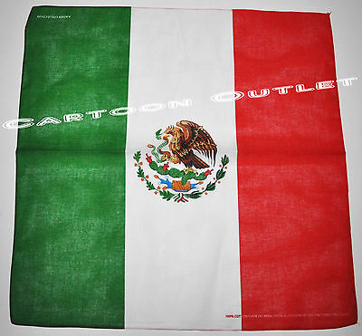 Mexico Flag Bandana 100% Cotton 22 X 22 Mexican Flag Biker Headwrap Headband New