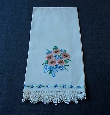 Antique Hand Embroidery Flowers Bouquet With Bow Linen Towel Lace Fringe