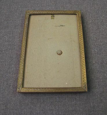 Antique Dutch Decorated Golden Metal Self Standing Picture Frame #436A