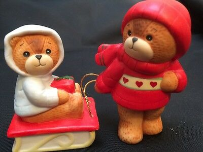 ENESCO LUCY AND ME BEAR 1983 Bear Pulling Baby On Sled Christmas