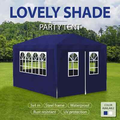 White/Blue Gazebo 3x4m White Party Tent Marquee Folding Canopy Outdoor Wedding