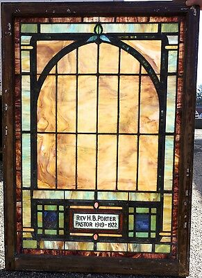 Antique Stained Glass Church Window Siler City, NC 51 x 36  FREE SHIPPING
