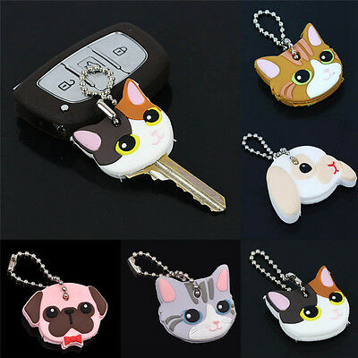 Silicone Key Ring Cap Head Cover Keychain Case Shell Lovely Animals Shape New