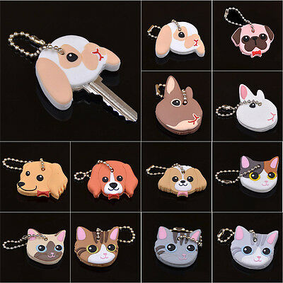 New Silicone Key Ring Cap Head Cover Keychain Case Shell Cute Animals Shape