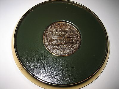 VINTAGE RARE HEAVY BRASS & LEATHER Krispy Kreme DONUTS COASTER BY BTS NORWOOD