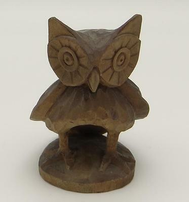 "Owl Figurine 5 1/4"" Hand Carved Wood Ecuador Wise Old Bird"