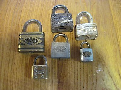6 Vintage Padlock Lot F S Diecast Rustless Metal Fraim Elgin Master Mola Germany