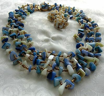 Art Deco Japan Hand Knotted Blue-White Abalone Shell  Bead Necklace & Earrings