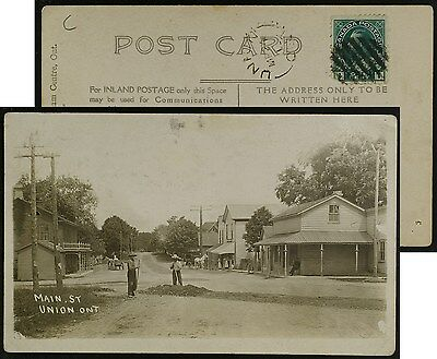 View of Main St, Union Ontario, RPPC, postmarked UNION 1913, Elgin County