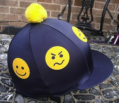 Riding Hat Silk Skull cap Cover NAVY BLUE * YELLOW SMILEYS * With OR w/o Pompom