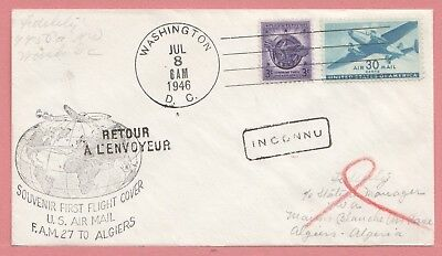 1946 First Flight Airmail Cover Clipper Dc To Algeria Fam 27 Aamc F27-33A